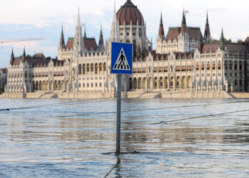 Flooded street in Europe